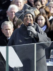 Aretha Franklin performed during the inauguration of Barack Obama as the 44th U.S. president on Jan. 20, 2009. Her appearance was remarked on as much for her hat as for her vocals, and the headpiece is now part of the Smithsonian collection.