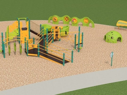 Artist's rendering of inclusive playground to be built at Young Park.
