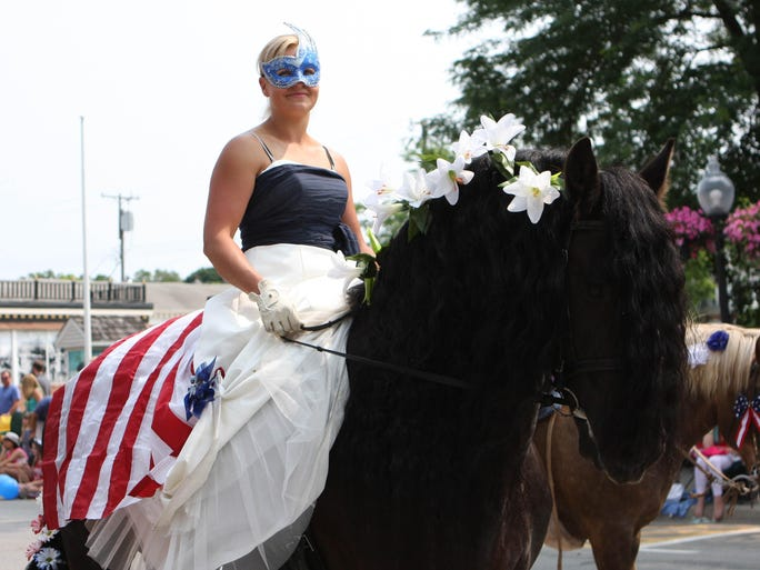 Horses and riders donned in patriotic garb were, as