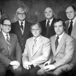 The Palace Guard stepped up to raise funds for the 1976 restoration of the Palace Theatre. Back row, left to right, Frank Henson, George Lane, Lyle DeVilling and Ted Myers. Front row, left to right, John Keggan, Robert Babich and Stephen Stuart. Modern Woodmen of America will honor these men as Hometown Heroes on July 19 during the Palace Cultural Arts Association annual meeting.