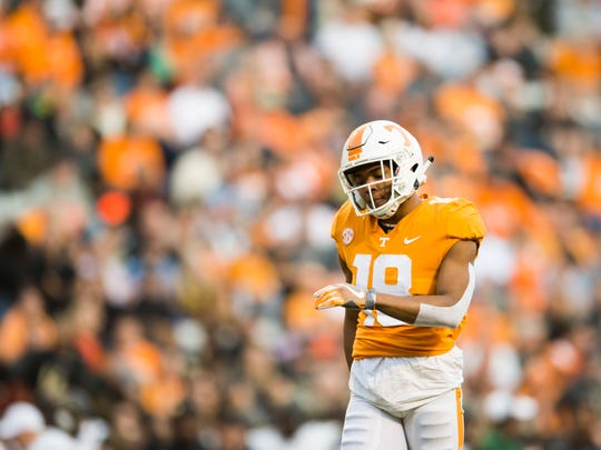 Tennessee defensive back Nigel Warrior (18) walks on the field during a game between Tennessee and Vanderbilt at Neyland Stadium in Knoxville, Tenn., on Saturday Nov. 25, 2017.