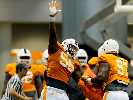 Tennessee's defensive lineman Matthew Butler (56) drills with Tennessee's defensive lineman Paul Bain (97) during Tennessee fall football practice at Anderson Training Facility in Knoxville, Tennessee on Friday, August 4, 2017.