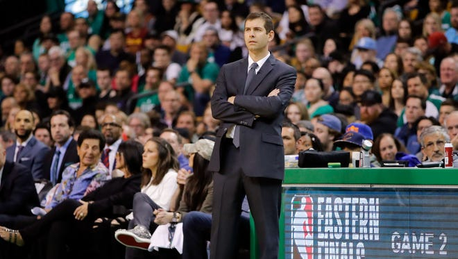 May 13, 2018; Boston, MA, USA; Boston Celtics head coach Brad Stevens watches a play against the Cleveland Cavaliers during the second quarter in game one of the Eastern conference finals of the 2018 NBA Playoffs at TD Garden. Mandatory Credit: David Butler II-USA TODAY Sports