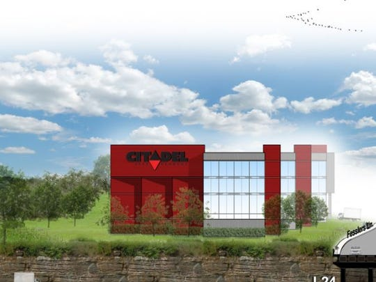 A rendering of the Citadel Self Storage building planned