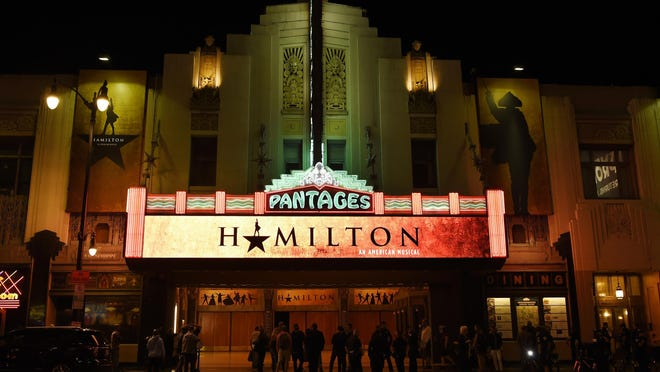 """This Aug. 16, 2017 file photo shows The Pantages Theatre on the opening night of the Los Angeles run of """"Hamilton: An American Musical"""" in Los Angeles. Chaos broke out during a performance of the musical """"Hamilton"""" at San Francisco's Orpheum theater after audience members mistook a medical emergency for a shooting on Friday, Feb. 15, 2019."""