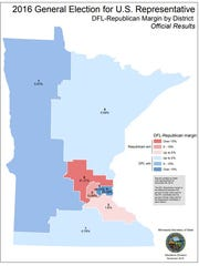 DFL-Republican Margin   in the 2016 General Election