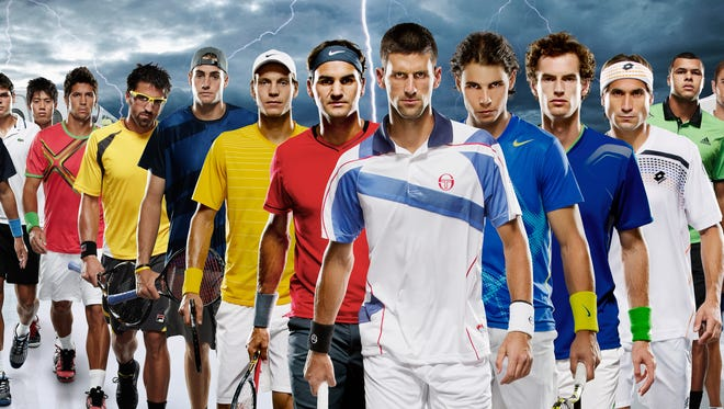 The top male tennis players in the world, led  by Novak Djokovic of Serbia, front, Roger Federer of Switzerland, red shirt, and Rafael Nadal of Spain, right, blue shirt, pose before the Indian Wells tournament in 2012.