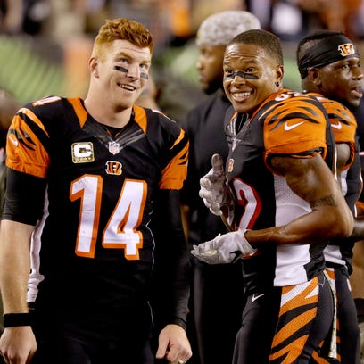 Bengals quarterback Andy Dalton, left, and wide receiver