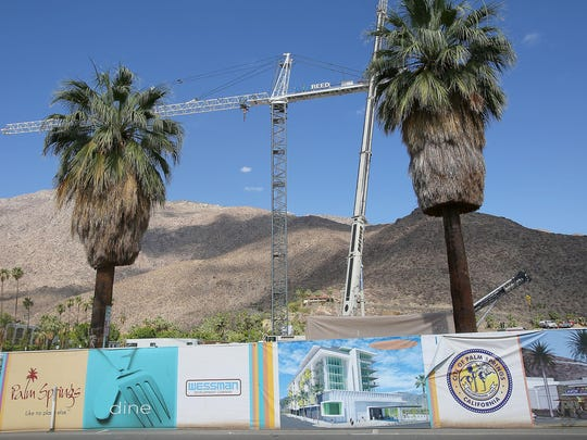 The site of the future Kimpton Hotel in downtown Palm Springs, which is part of a massive redevelopment project led by developer John Wessman. Photo taken Friday, June 12, 2015.