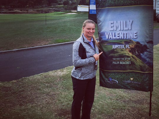 Port Huron native Emily Valentine poses next to her banner at the Nature Valley First Tee Open. The Jupiter High School (Florida) senior is one of 81 golfers chosen to play in the tournament at Pebble Beach in California.