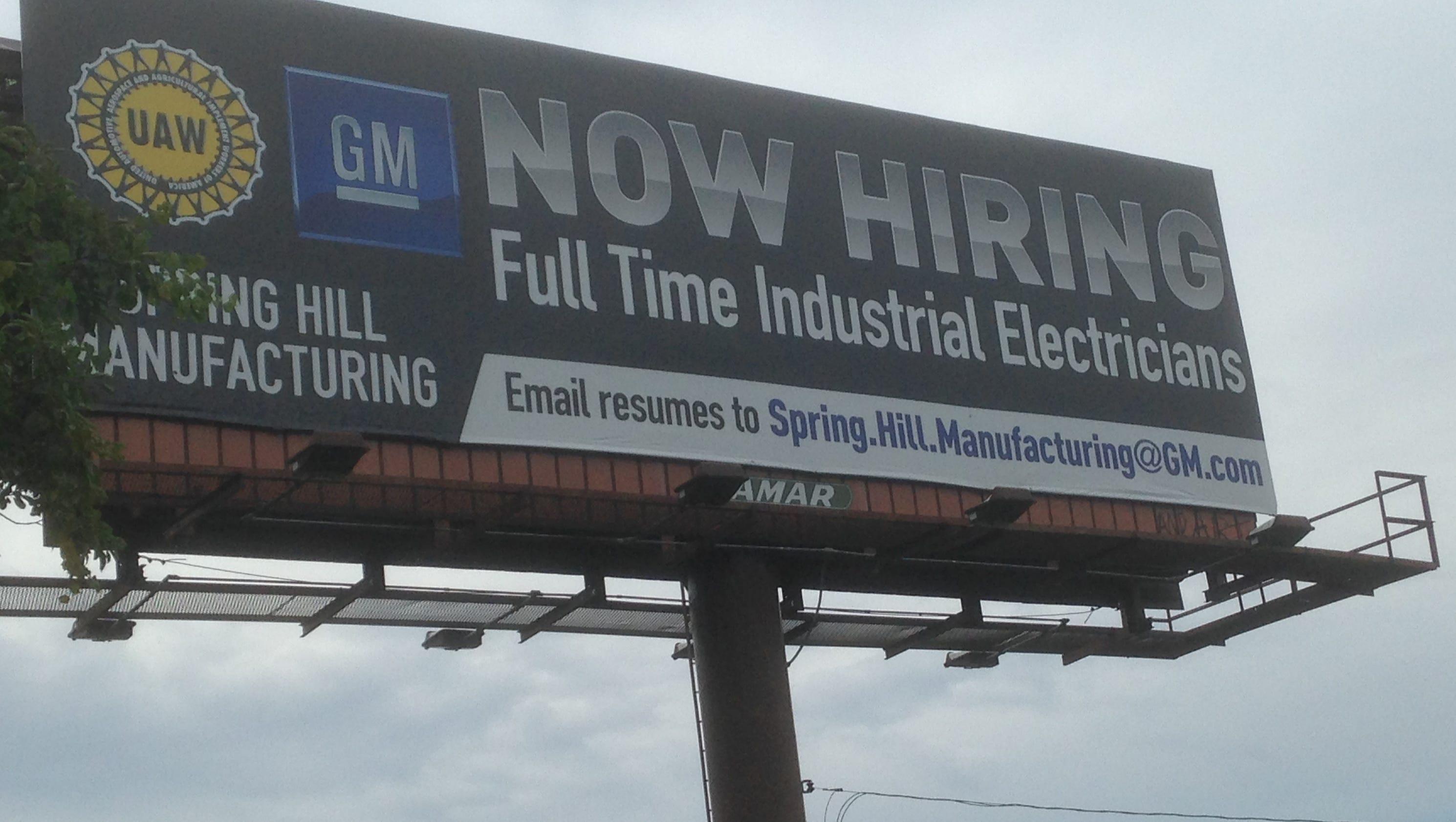 Gm Uaw Erect Billboard Near Nissan Factory