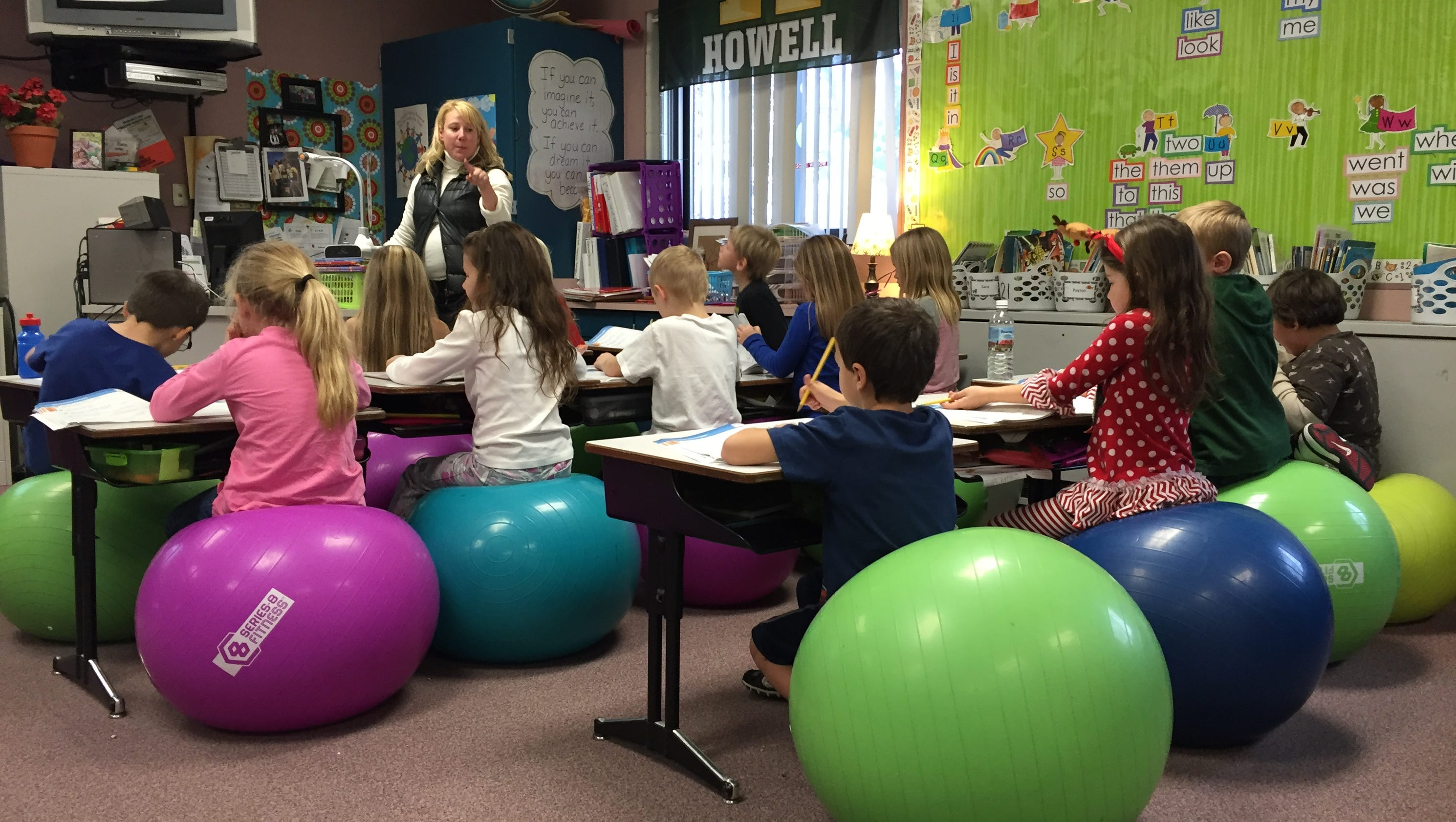 Exercise balls give students a bounce