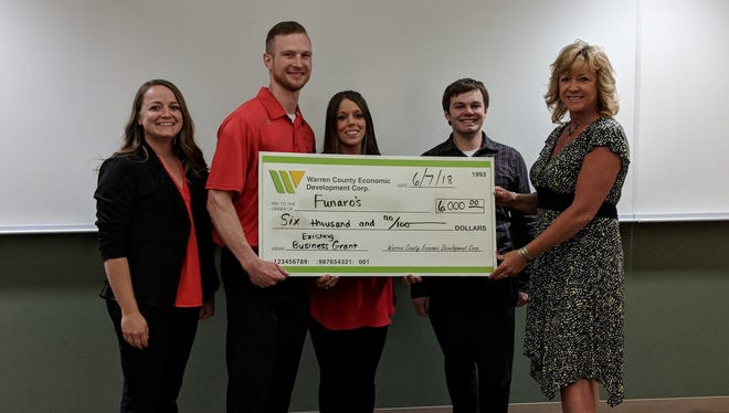 The owners of Funaro's Deli, Bryant and Rose Houston, won $6,000 to renovate the restaurant during the annual Warren County Economic Development Small Business Grant contest.