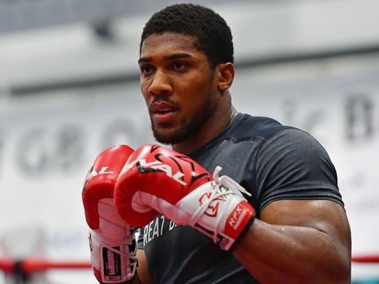 Anthony Joshua trains for his April 29 heavyweight