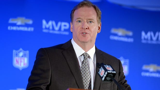 NFL commissioner Roger Goodell during the winning team press conference the day after Super Bowl XLVIII.