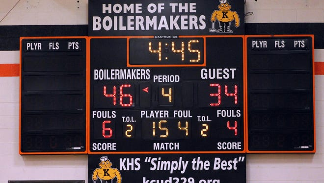 The Daktronics scoreboard on the north end of Brockman Gymnasium at Kewanee High School. Kewanee High School athletic director said a shot clock would make games more exciting for fans. But he said KHS would have to install clocks at both ends of Brockman Gymansium and at Good's Gym, and possibly, at the National Guard Armory.