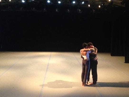 This is a rehearsal shot of the Graham dancers preparing