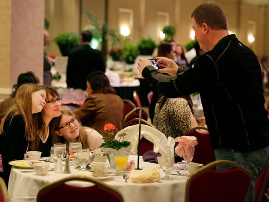 Michael Disher, of Chilton, gets a photo of his wife,