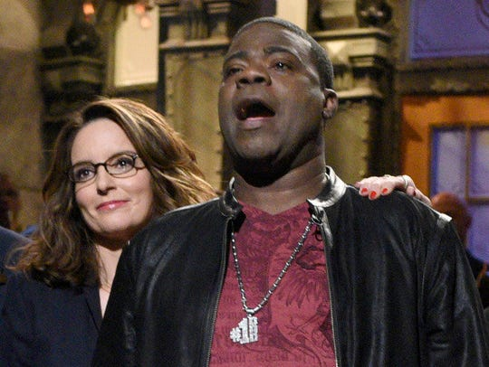 "Tina Fey and Tracy Morgan reunited on an October 2015 episode of ""Saturday Night Live,"" after Morgan's recovery from a New Jersey accident that left him seriously injured."