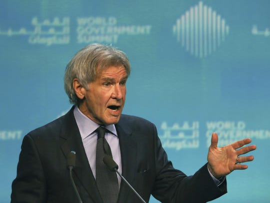 "American actor Harrison Ford speaks about ocean conservation at the World Government Summit in Dubai, United Arab Emirates, Feb. 12, 2019. Ford offered an emphatic plea for protecting the world's oceans while calling out President Donald Trump and others who ""deny or denigrate science."""