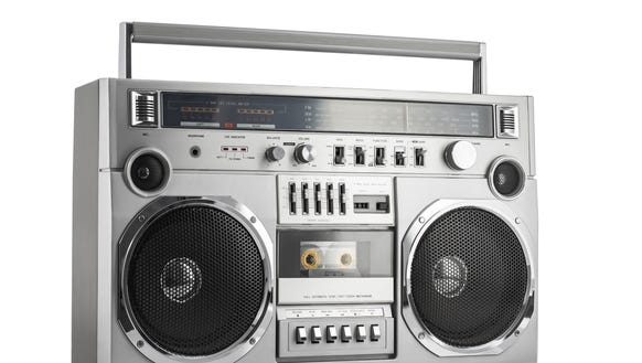 Retro ghetto blaster isolated on white with clipping