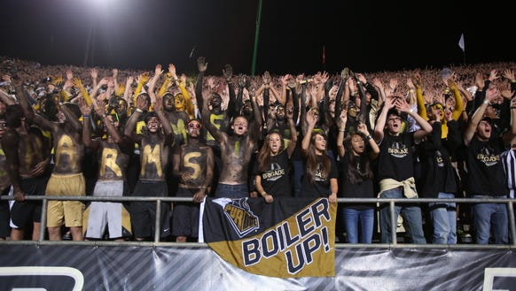 Purdue Boilermakers fans cheer during a game against