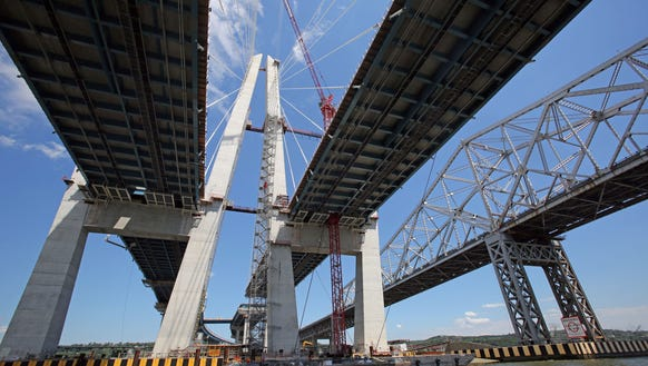 The underbelly of the replacement bridge as construction