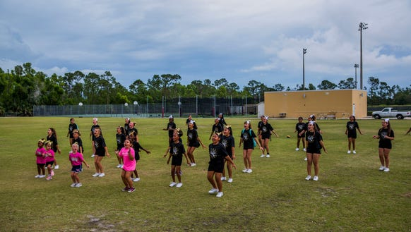 The Golden Gate Youth Titan Cheerleaders practice at