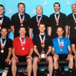 The Marysville Goodyear volleyball team won the USA Volleyball Open National Championship in the Men's B Division Wednesday in Detroit. Team members are pictured from left to right, front row: Chris Voss, Stacey Smith, Dean Donovan, William Manley and William Luk; back row: Steve Privette, Stan Chervinsky, Ryan Young, Ronald Willey and Raymond Theut.