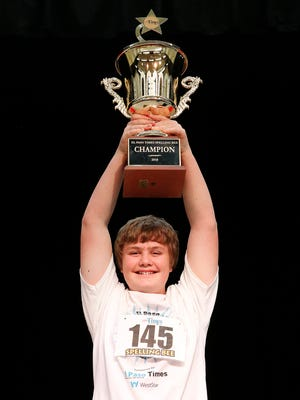 Liam Nyikos, representing Carlsbad Intermediate School in Carlsbad, N.M., took home the 2018 El Paso Times Spelling Bee Championship trophy for the third time in four years. He will return to the Scripps National Spelling Bee in Washington.