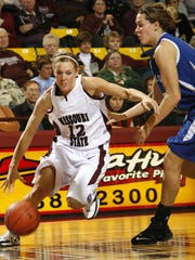 Missouri State's Roxy Stiles moves toward the basket