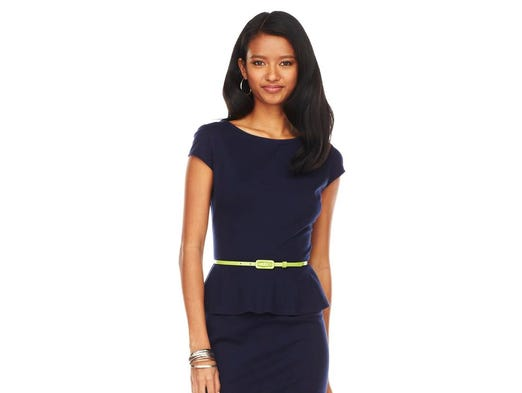 Popular cut adds feminine flair to any outfit. Chaps solid ponte peplum dress, $65.50 at Kohl's. (Gannett/File)