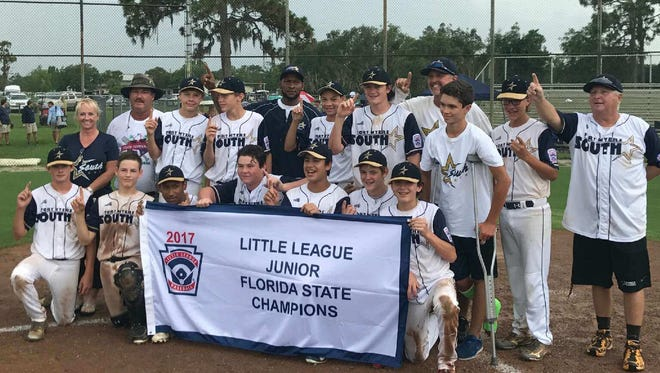 The South Fort Myers junior division Little League squad captured the state championship last weekend with a 3-2 win over Palma Ceia. The members of the team are: Scotty Edwards, Kendall Battle, Jake O'Connell, Keaton Kenworthy, Jace Jones, Jake Wilson, Kevin Riscassi, Mike McAloose, Alex Horton, Dylan Peck, Will Wiltshire, Matt Ciccone, Jameson Moschella and Preston Heben. The manager is Steve Cunningham, with Dave Peck and Kendall Battle serving as assistants. South Fort Myers will next compete in the regional tournament, to be held in Fort Myers from August 4-8.