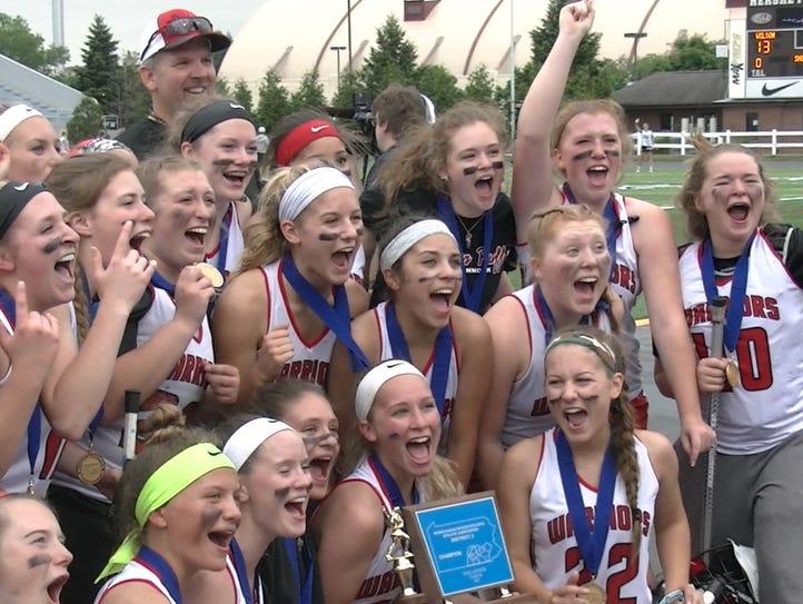 Susquehannock girls' lacrosse celebrates winning the
