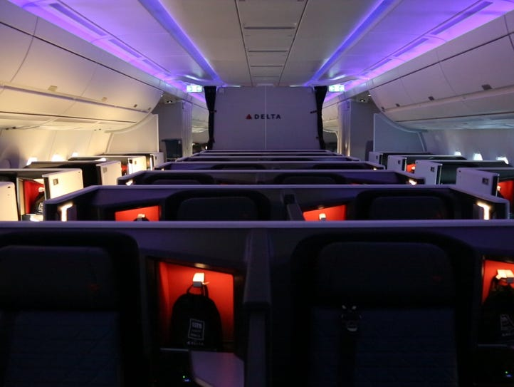 Delta's new Delta One suites are seen after a media