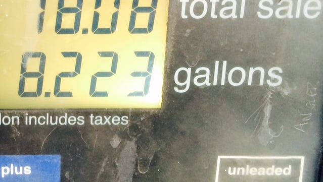 What it cos to fill up James Bruggers mostly empty Prius gas tank this week, at $2.19.9 a gallon
