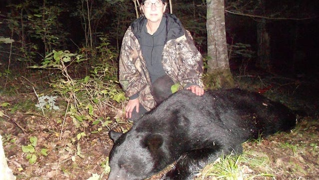 Jenny Tlachac of the Town of Newton shot this black bear on the third day of the season in Florence County. After field dressing, the bear tipped the scale at 349 pounds.