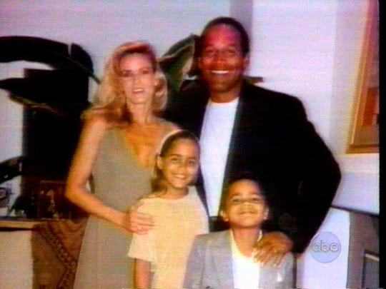 O.J. Simpson with his then-wife Nicole Brown Simpson, and their children, Sydney and Justin. The Simpsons married in 1985 and divorced by 1992.
