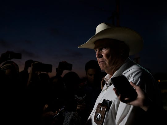 Wilson County Sheriff Joe Tackitt  speaks to the media outside the First Baptist Church of Sutherland Springs the morning after 26 people were fatally shot, Monday, Nov. 6, 2017, in Sutherland Springs, Texas.