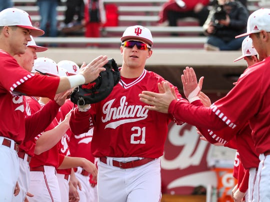 Outfielder Elijah Dunham of the Indiana Hoosiers during