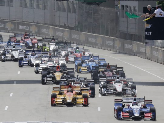 Takuma Sato leads the field to start the IndyCar Detroit
