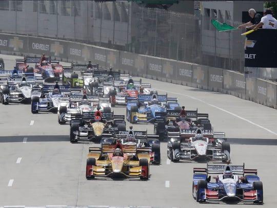 Takuma Sato leads the field to start the IndyCar Detroit Grand Prix auto race on Belle Isle, Sunday, June 4, 2017, in Detroit. (AP Photo/Carlos Osorio)