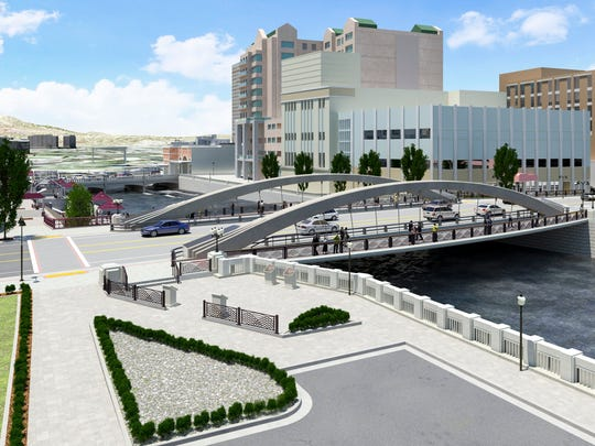 Rendering of the plaza on the south side of the river