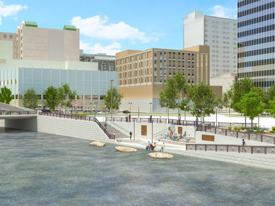 Rendering of the new river access plaza on the north side of the river
