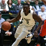 Rams forward Emmanuel Omogbo drives to the hoop during Colorado State's 97-93 double overtime win over the Boise State Broncos on Wednesday, Feb. 10 at Moby Arena in Fort Collins, Colo. The Rams had won three of their last five games coming into the contest and will start a two game road trip at the University of Nevada, Las Vegas on Saturday.