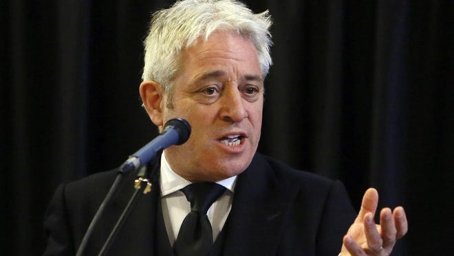 In this file photo dated Thursday, March 22, 2018, John Bercow, Speaker of the House of Commons speaks at Westminster Hall inside the Palace of Westminster in London.