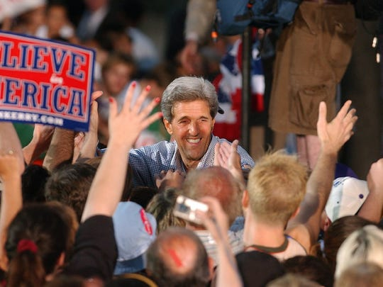 Democratic  nominee John Kerry makes his first visit to Milwaukee for a rally at Pere Marquette Park on Aug. 2, 2004.