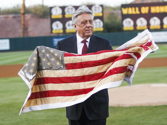 Danny Miller/azcentral sports Rick Monday, a new member of National College Baseball Hall of Fame, is honored before the game as ASU faces off against University of Arizona on Tuesday, April 26, 2016, at Phoenix Municipal Stadium in Tempe, Ariz. In 1976 Monday stopped an american flag from being burned by protesters at Dodger stadium.