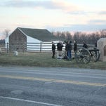 "A film crew shoots footage near the McPherson Barn at the Gettysburg National Military Park Thursday evening. National Park Service spokesperson Katie Lawhon confirmed that AWP Productions filmed a scene for ""The Dinner,"" a movie starring Richard Gere."