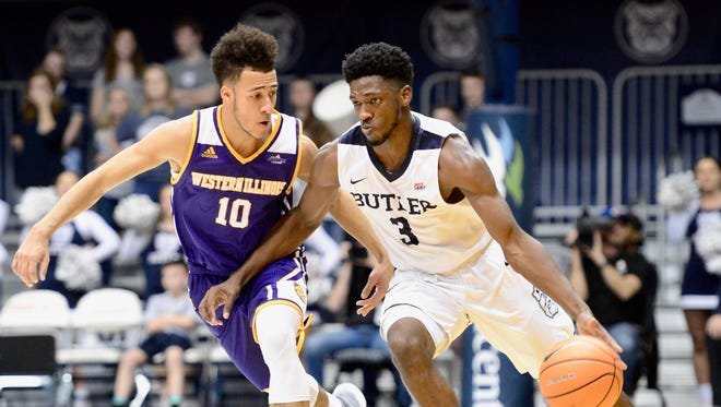 Butler's Kamar Baldwin drives on Western Illinois' Kobe Webster, who played at Park Tudor School.